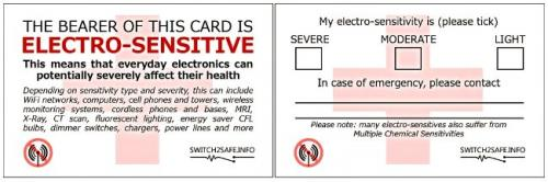 sample electrosensitivity card